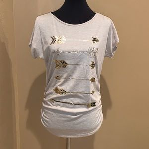 Tan Ruched Sides T-Shirt with Arrow Print Details